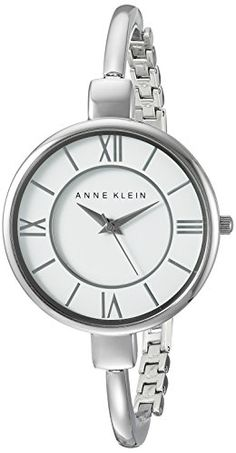 Anne Klein Womens AK1751WTSV SilverTone Bangle Watch * Details can be found by clicking on the image.