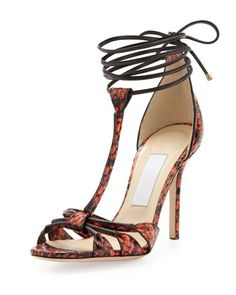 Jimmy Choo Motive Snake Ankle-Wrap Sandal, Flame - Neiman Marcus