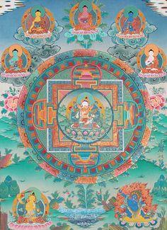 Vajrasattva in Yab Yum with Five Cosmic Buddhas, Manjushri and Vajrapani