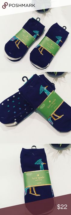 NWTs Kate Spade Peacock Socks (3 Pairs) this colorful three-pack features peacock-printed ankle-socks, plus a couple of coordinating pairs. MATERIAL 54% cotton, 32% Polyester 2% spandex SIZE 9-11  machine wash cold. tumble dry low. Let me know if you'd like to bundle more than one pack kate spade Accessories Hosiery & Socks