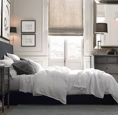 Garment-Dyed Textured Linen Bedding Collection--white. I love this so much because it's so clean and airy and bright. Perfect breezy nap. But my god. The sun in the morning. I would sleep with forks in my eyes.