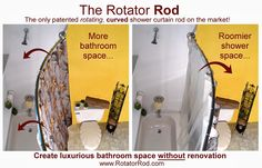 Shower Curtain Rod Curved Rotating