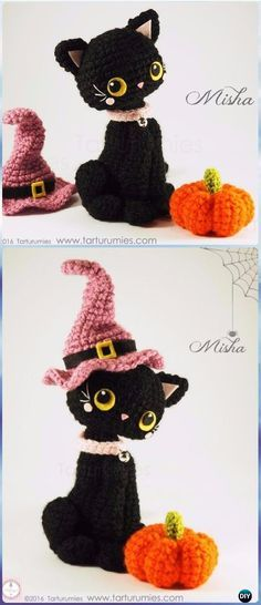 Crochet Dolls Patterns Crochet Amigurumi Halloween Cat in Hat Free Pattern - Crochet Amigurumi Cat Free Patterns - Crochet Amigurumi Cat Free Patterns: Amigurumi Hello Kitty, Kitty Toy Plush, Cat Toy Softie Free Patterns for Kids and Gifts Gato Crochet, Crochet Mignon, Crochet Cat Pattern, Crochet Diy, Crochet Amigurumi Free Patterns, Crochet Crafts, Crochet Projects, Halloween Knitting Patterns Free, Sewing Projects