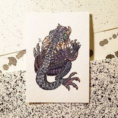 """184 Likes, 5 Comments - Emma Lazauski (@emmalazauski) on Instagram: """"And here's the tusked drog! . . . #aceo #watercolor #pittsburghartist #monster #fantasyart #ACEO…"""""""