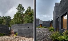 The courtyard and entrances to the pavilions at Casa Bruma