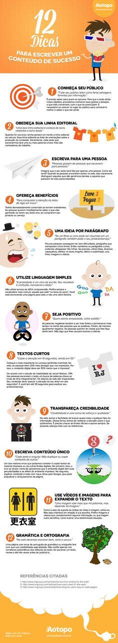 Infográfico: 12 dicas para escrever um conteúdo de sucesso | Aotopo