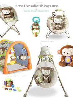Delight and soothe your baby with the Fisher-Price SnugaMonkey Collection.