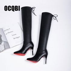 211b32e73c1 2019 Women Shoes Boots High Heels Red Bottom Over The Knee Boots Leather Fashion  Fenty Beauty Ladies Long Boots Size