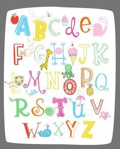 Illustrated Alphabet Wall Art Print