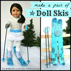 American Girl Dolls : How to make doll skis Ag Doll Clothes, Doll Clothes Patterns, Clothing Patterns, Doll Patterns, Casa American Girl, American Girl Crafts, American Girl Outfits, Ag Doll Crafts, Diy Doll