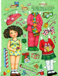 Uncut Paper Doll by Mary Engelbreit Christmas with Mikayla