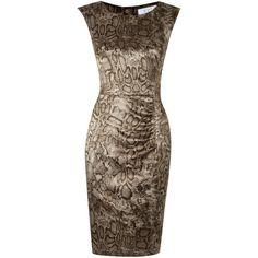 Oui Silk snake print dress ($105) ❤ liked on Polyvore featuring dresses, taupe, silk print dress, python dress, loose dress, mixed print dress and brown print dress
