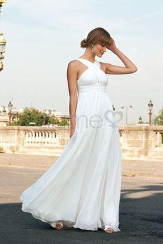 Chiffon Falte Mieder A-Linie Strand informelles & legeres bodenlanges einfaches Brautkleid