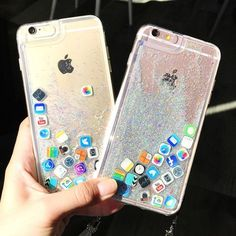 Trend 3D Funny App Flowing Quicksand Glitter Case Cover For Iphone 8 7 6S Plus 6