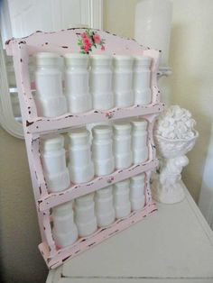 A full set of Vintage White Milk Glass Spice Jars in an adorable Pink Shabby Chic Wooden Holder.A MUST have for any Shabby Shabby Chic Interiors, Shabby Chic Bedrooms, Shabby Chic Furniture, Vintage Interiors, House Interiors, Painted Furniture, Shabby Chic Kitchen, Shabby Chic Cottage, Shabby Chic Homes