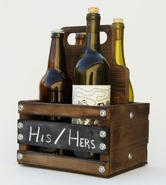 Rustic Wood 4-Pack Bottle Carrier | Can't decide what to bring to that shindig? This 4-pack carrie... | Food & Beverage Carriers