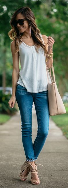 AG 'The Stilt' Cigarette Leg Jeans Lush Ribbed Henley Tank* only Jeffrey Campbell Rodillo-Hi Wedge Sandals Tory Burch 'Perry' Leather Tote Nude Outfits, Fall Outfits, Casual Outfits, Fashion Outfits, Fashion Trends, Modern Fashion, 50 Fashion, Wedges Outfit, Ladies Dress Design