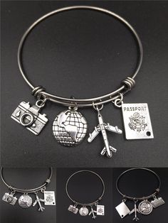 [Visit to Buy] inch Stainless Steel Expandable Wire Bangle Love Travel Bracelet Camera Globe Plane Passport Charms Wholesale Bulk Jewelry