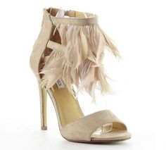 """Cape Robbin Nude Suede Open toe Feathers Sandal High Heel Women's shoes Diany. 4.75"""" Heel approx measurement. Vegan suede open toe design. strappy style with two tiers front feathers decor. Single sole, cushioned footbed, stiletto heel. Rear zipper closure, true to size, imported."""