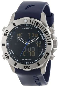 Men's Wrist Watches - Nautica Mens N18666G BFD ANA DIGI Classic Analog with Enamel Bezel Watch *** Details can be found by clicking on the image. (This is an Amazon affiliate link)