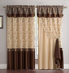Fancy Collection Embroidery Curtain Set 1 Panel Drapes with Backing & Valance brown 1 panel curtain set 1 Pc curtain with attached sheer backing attached valance embroidered with gold and brown Fancy Curtains, Brown Curtains, Colorful Curtains, Curtains With Blinds, Sheer Curtains, Window Curtains, Bedroom Curtains, Velvet Drapes, Kitchen Curtains