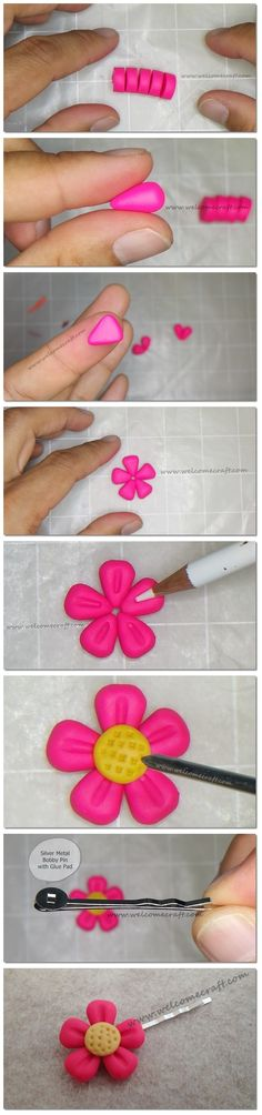How to make Polymer Clay Flower Pin step by step tutorial instruction