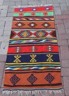 Turkish Runners Handwoven Kilim Traditional Wool Rug Carpet 22,8''x55'' (58cm x 140cm)