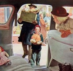 Roger Wilkerson, Pumpkin Delivery - detail from 1944 DeSoto ad. Vintage Thanksgiving, Vintage Holiday, Vintage Halloween, November Thanksgiving, Halloween Art, Vintage Love, Vintage Ads, Vintage Prints, Vintage Pictures