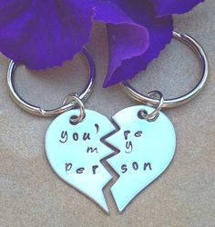 you're my person, you're my person keychain, Grey's anatomy, personalized key chains, couple keychain, hand stamped