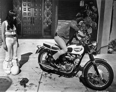 Sonny Bono and Cher with Triumph Bonneville - Google Search