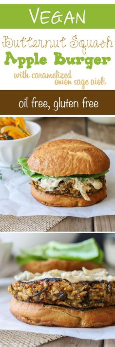 Butternut squash apple burger | www.veggiesdontbite.com | #vegan #plantbased #glutenfree #oilfree via @veggiesdontbite