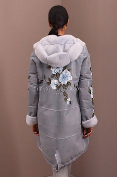 Female Mink Parka Coat Fur with whole skins. Made in Italy. With handmade flowers. Italian Style. Kopenhagen Platinum quality.