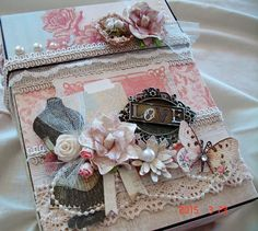 "I created this Explosion box with an album using DCWV's French Country Collection. The following items I used from ReneaBouquets Etsy/Online Shop: Handcrafted ""Love Letter Butterflies, Prima Marketing Times Square Flower Embellishement - Fifth Avenue, Baroque Metal Frames, Cabochon, Natural Cotton Crochet Cluny Trim, Prima's Cradle Nests with Eggs~Robin and Vintage Trinket Scissors. https://www.etsy.com/shop/Reneabouquets http://www.reneabouquets.com/"