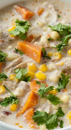 Southwest Creamy Chicken, Corn and Sweet Potato Chowder ~ Hearty enough to be filling as a main meal, just the right amount of spice from the smoky chipotle peppers and just the right hint of sweetness from the corn and sweet potatoes makes it a perfect dinner.