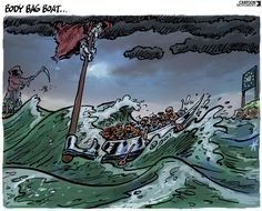 Body bag boats in the Mediterranean. Today's cartoon on #immigrants lost at sea, by Dutch cartoonist Maarten Wolterink.