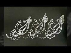 Two simple border rangolies.for daily kolams.with dots. Indian Rangoli Designs, Rangoli Designs Latest, Simple Rangoli Designs Images, Rangoli Designs Flower, Rangoli Designs With Dots, Beautiful Rangoli Designs, Homemade Wall Art, Lotus Rangoli, Worli Painting