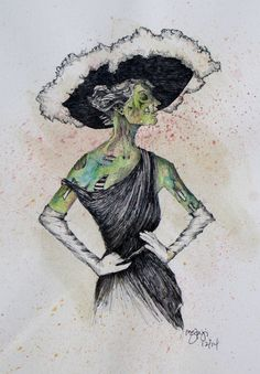 The original Lady Zombie...  Check out this item in my Etsy shop https://www.etsy.com/listing/247957762/lady-zombie-up-illustration-wall-art