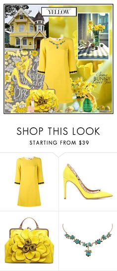 """Yellow Daffodils !"" by fantasy-rose ❤ liked on Polyvore featuring Dolce&Gabbana, Valentino, Michal Negrin, Rimmel, Spring, SpringStyle, yellowdress and Spring2017"