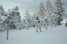 Armed forces of Finland, during exercises in Lapland.