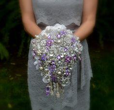 Deposit on lavender cascading jeweled brooch bouquet  by Noaki, $290.00