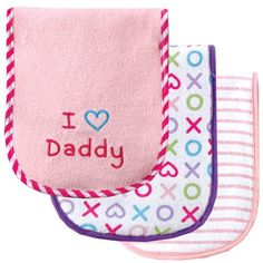 Luvable Friends 3 Pack Baby Burp Cloths - Pink-Daddy - Sale Price: $4.99