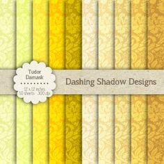 "Tudor Damask in Yellow Shades - 12 x 12"" Digital Scrapbook Paper Pack…"