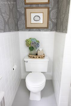 How I Painted Our Bathroom's Ceramic Tile Floors: A Simple (and Cheap!) DIY - Budget bathroom makeover, with stenciled walls (yep, that's not walllpaper!), painted ceramic til - Painting Ceramic Tile Floor, Painting Bathroom Tiles, Tile Floor Diy, Ceramic Tile Bathrooms, Painting Tile Floors, Bathroom Floor Tiles, Wall Tiles, Painting Over Tiles, Bathroom Beadboard