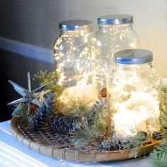 This pretty fairy light jar can be used as lighting year round with different decorations for each holiday.