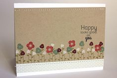 Happy Flowers Card - Just Smile Stamp - Papertrey Ink