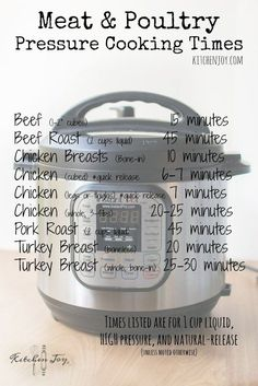 Pressure Cooker Meat and Poultry Cooking Times - Kitchen Joy®