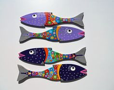 Far Out Fish Works .. NEW SIZE ....Smaller Fish ... Light Purple / Dark Purple