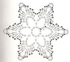 diagram More - Salvabrani Crochet Snowflake Pattern, Crochet Motif Patterns, Crochet Stars, Crochet Snowflakes, Crochet Diagram, Thread Crochet, Crochet Doilies, Crochet Flowers, Knit Crochet