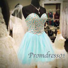 Ice blue prom dresses short, sweetheart dress for teens, 2016 handmade beaded strapless tulle mini homecoming dress www.promdress01.c... #promdress #coniefox #2016prom