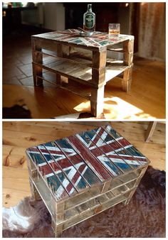 Union Jack Pallets Snack Table #LivingRoom, #PalletCoffeeTable, #PalletTable, #RecycledPallet